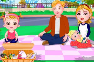 可爱宝贝的家庭野餐